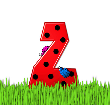 tall grass: The red letter Z, in the alphabet set Lady Bug Red, has large black polka dots and is decorated with 3D ladybugs.  Letter is nestled in tall, garden grass.