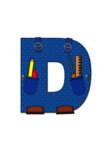 educational tools: The letter D, in the alphabet set Carpenter Tools, is denim with tool pocket.  Brown, construction boots sit at base of letter.  Various tools decorate letter. Stock Photo