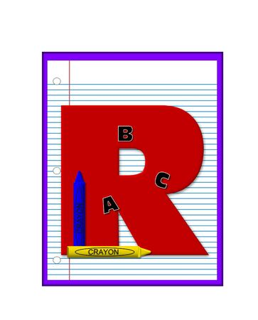 decorate notebook: The letter R, in the alphabet set Grade School Homework  is  red and and sits on background of notebook paper.  Crayons and ABCs decorate letter.