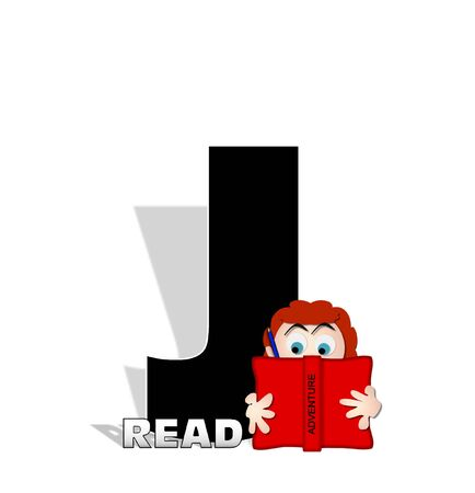 open type font: The letter J, in the alphabet set Absorbed in Reading, is black and decorated with books and people absorbed in reading.  Stark shadow hangs behind letter.  Books have genre printed on spine binding. Stock Photo