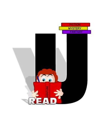 open type font: The letter U, in the alphabet set Absorbed in Reading, is black and decorated with books and people absorbed in reading.  Stark shadow hangs behind letter.  Books have genre printed on spine binding.