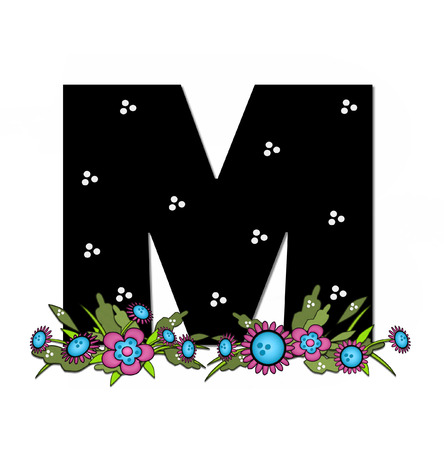 The letter M, in the alphabet set Country Lane Two is pink with black outline.  Letter sits on arrangement of country flowers in pink and blue.