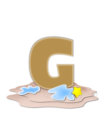 tan: The letter G, in the alphabet set Ocean Swimming is tan.  Letter sits on beach and is decorated with water, bubbles and yellow starfish. Stock Photo