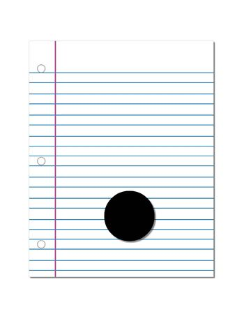 notebook paper: Period, in the alphabet set Start of School, is black.  Period is setting on a blank piece of notebook paper.  This set coordinates with Alphabt Start of School Two which has children and pencils.