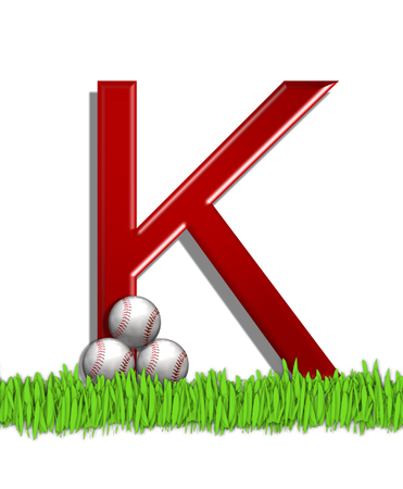 The letter K, in the alphabet set Baseball, is red.  Three baseballs decorate 3D letter.  All sit in a field of green grass. Stock Photo