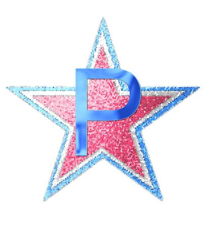 The letter P, in the alphabet set Red White and Blue is blue metallic.  Letter sits on three mosaic stars of red, white and blue.