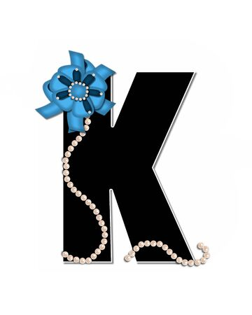The letter K, in the alphabet set Ribbon Trimmed, is black, outlined with white.  Letter is decorated with colorful bow trimmed with pearls.  Strands of pearls fall from bow and lay at bottom of letter.