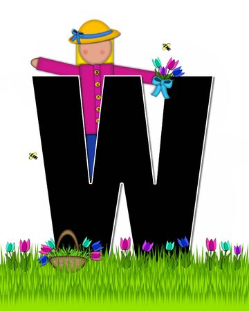 The letter W, in the alphabet set Children Tulip Patch is black outlined with white.  Children hold tulip bouquet and stand in colorful tulip patch.