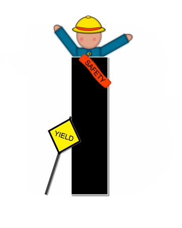 The letter I, in the alphabet set Children School Patrol, is black and outlined with white.  Child dressed as crossing guard wears banner, hat and carries sign.