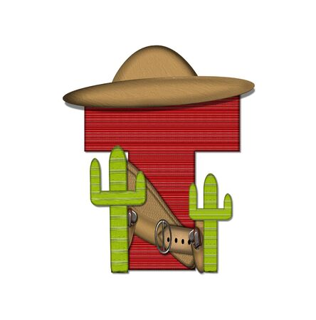 theif: The letter T, in the alphabet set Bandido, is a red lined, tight woven pattern.  Letter is wearing a gun belt and blanket with a somberro on top.  Two cacti sit at each side.