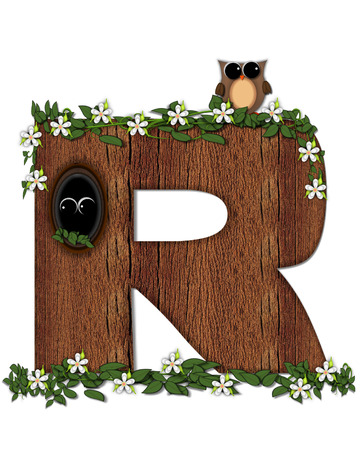 knothole: The letter , in the alphabet set Log Home is filled with wood texture.  Flower bloom on vines hanging on letter.  One owl hides in knothole and the other outside the stump home.