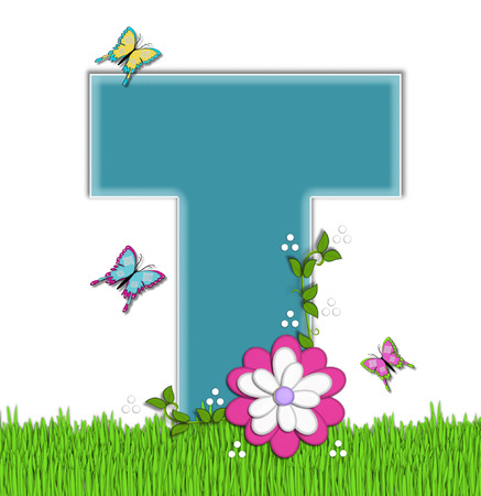 flower vines: The letter T, in the alphabet set Happy Springtime, is turquoise.  Letter is sitting on bright green grass and is decorated with flower and vines.  Butterflies flutter around letter.