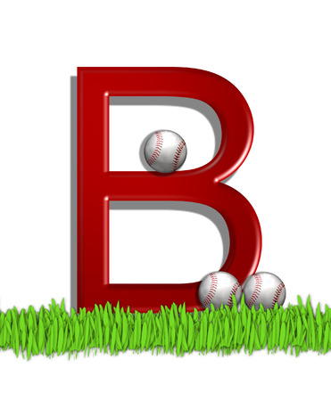 The letter B, in the alphabet set Baseball, is red.  Three baseballs decorate 3D letter.  All sit in a field of green grass. Stock Photo