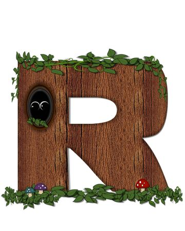 The letter R, in the alphabet set Log is filled with wod texture.  Vines and colorful mushrooms grow around letter.  Some letters have knot holes with peeking eyes.