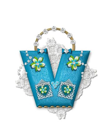 The letter V, in the alphabet set Bling Bag, depicts aqua letter as a blinged out purse with gold handle.  Letter has lace, diamonds and flowers.  Background framing letter is a lace handkerchief.
