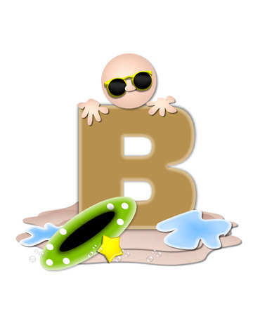 tan: The letter B, in the alphabet set Ocean Swimming is tan.  Letter sits on beach and is decorated with swimmer, water, bubbles and yellow starfish. Stock Photo