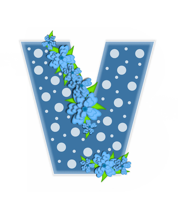 The letter V, in the alphabet set Dusty Blue Dots, is Blue.  Letter is decorated with blue flowers and is covered in large and small polka dots. Stok Fotoğraf