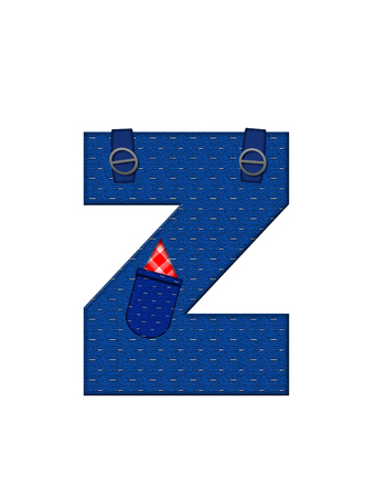 handkerchief: The letter Z, in the alphabet set Farmer Brown, is denim with straps and pockets.  Checkered handkerchief peeks out of pocket. Stock Photo