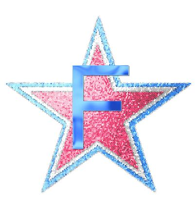The letter F, in the alphabet set Red White and Blue is blue metallic.  Letter sits on three mosaic stars of red, white and blue. Stock fotó