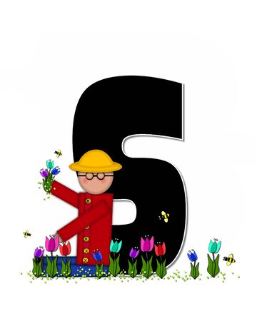 wears: The letter S, in the alphabet set Children Spring Tulips is black and trimmed with white.  Child holds bouquet of tulips and wears a straw hat.  Tulip garden grows at her feet.