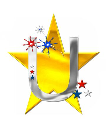 The letter U, in the alphabet set Patriotism is silver metalic.  Fireworks and stars decorate letter with red, white and blue.  Golden star serves as background. Stock Photo
