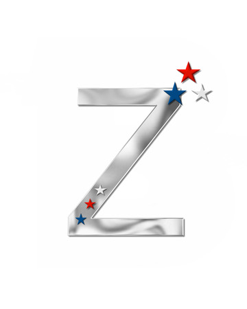 metalic: The letter Z, in the alphabet set Plain Patriotism is silver metalic.  Three stars decorate letter with red, white and blue.  Letters coordinate with Alphabet Patriotism. Stock Photo