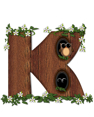 The letter K, in the alphabet set Log Home is filled with wod texture.  Flower bloom on vines hanging on letter.  One owl hides in knothole and the other outside the stump home.
