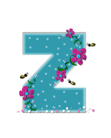 buzz: The letter Z, in the alphabet set Garden Buzz, is aqua.  Each letter is decorated with soft polka dots, flowers and buzzing bees.  Base of letter is covered in pink and white confetti.
