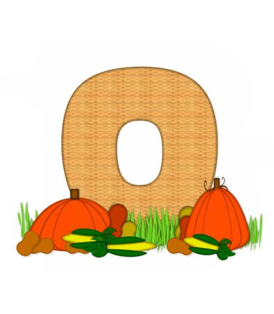 pumpkin patch: The letter O, in the alphabet set Blessed Bounty, is filled with wicker texture.  Letter sits in grassy field surrounded by Fall vegetables. Stock Photo