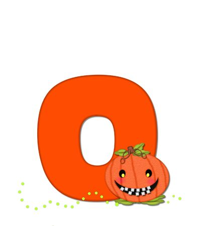 toothy: The letter O, in the alphabet set Pumpkin Head, is bright orange. Letter is decorated with smiling, toothy pumpkins and green polka dots.