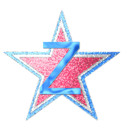 independance day: The letter Z, in the alphabet set Red White and Blue is blue metallic.  Letter sits on three mosaic stars of red, white and blue. Stock Photo