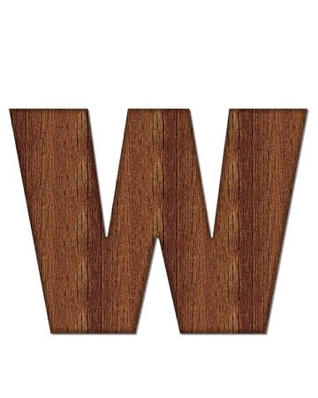 wood grain: The letter W, in the alphabet set Wood Grain resembles paneling or finished wood grain.