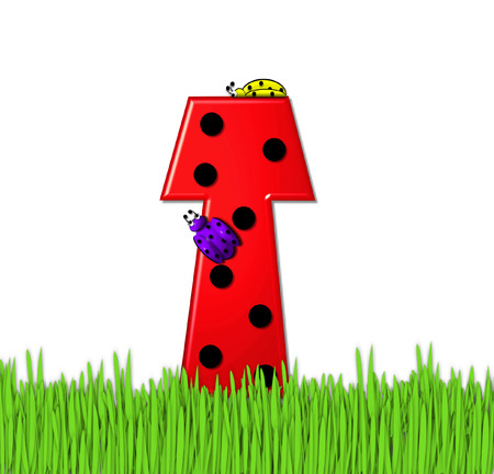 The red letter T, in the alphabet set Lady Bug Red, has large black polka dots and is decorated with 3D ladybugs.  Letter is nestled in tall, garden grass. Stock Photo
