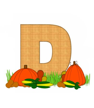 bounty: The letter D, in the alphabet set Blessed Bounty, is filled with wicker texture.  Letter sits in grassy field surrounded by Fall vegetables.