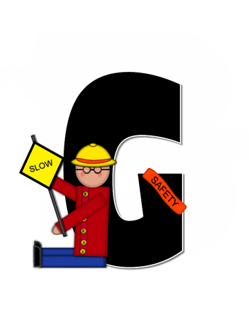 patrol: The letter G, in the alphabet set Children School Patrol, is black and outlined with white.  Child dressed as crossing guard wears banner, hat and carries sign.