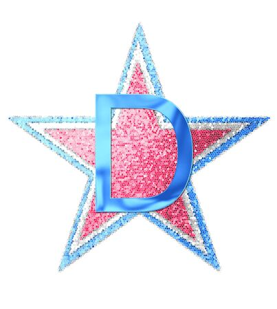 independance day: The letter D, in the alphabet set Red White and Blue is blue metallic.  Letter sits on three mosaic stars of red, white and blue.