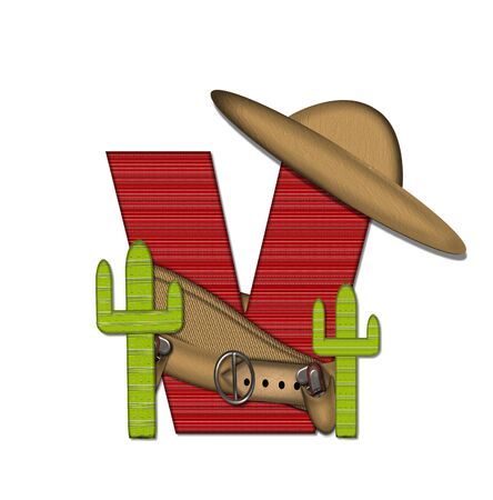 The letter V, in the alphabet set Bandido, is a red lined, tight woven pattern.  Letter is wearing a gun belt and blanket with a somberro on top.  Two cacti sit at each side.