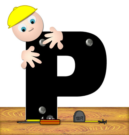 inspecting: The letter P, in the alphabet set Construction Worker, is black with silver nails embedded in letter.  Construction worker bends over inspecting letter.  Tools sit beside letter on wooden planks.