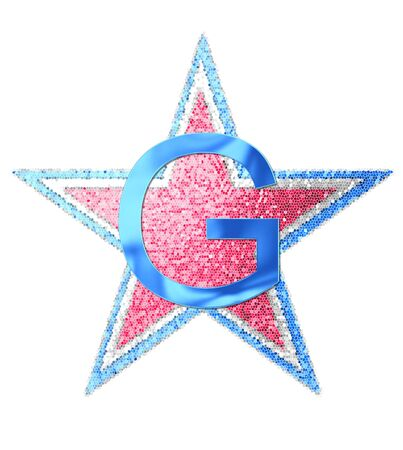The letter G, in the alphabet set Red White and Blue is blue metallic.  Letter sits on three mosaic stars of red, white and blue. Stock fotó