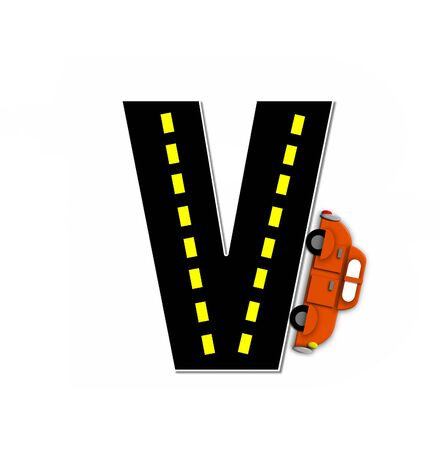 motorized: The letter V, in the alphabet set Transportation by Road, is black with yellow dividing line representing a black top road.  Colorful, motorized vehicle navigates outside of letter. Stock Photo