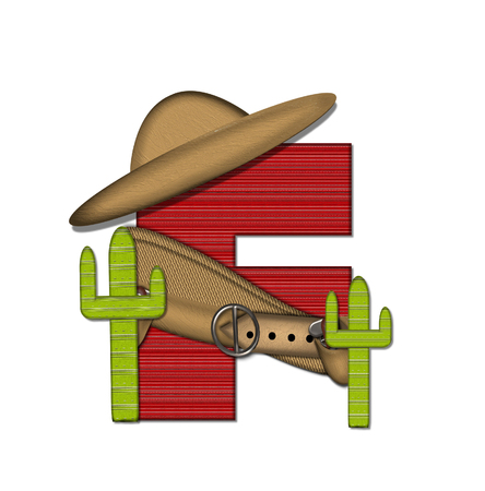 theif: The letter F, in the alphabet set Bandido, is a red lined, tight woven pattern.  Letter is wearing a gun belt and blanket with a somberro on top.  Two cacti sit at each side.