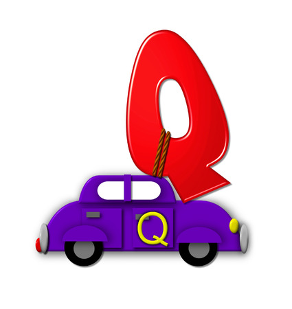 hauling: The letter Q, in the alphabet set Alphabet On the Go is tied with rope to transportation vehicles in different colors, shapes and sizes.  Letter is 3D, red and ready to GO!