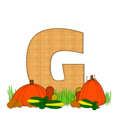 bounty: The letter G, in the alphabet set Blessed Bounty, is filled with wicker texture.  Letter sits in grassy field surrounded by Fall vegetables.