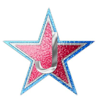 metalic background: The letter J, in the alphabet set All Star is silver metalic.  Three stars of red, white and blue form background. Stock Photo