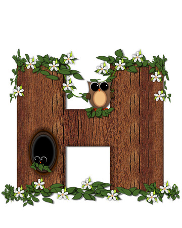 The letter H, in the alphabet set Log Home is filled with wod texture.  Flower bloom on vines hanging on letter.  One owl hides in knothole and the other outside the stump home.