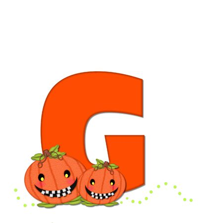 The letter G, in the alphabet set Pumpkin Head, is bright orange. Letter is decorated with smiling, toothy pumpkins and green polka dots.