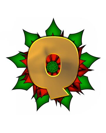 The letter Q, in the alphabet set Christmas Poinsettia is shiny gold metallic.  Letter sits on a large red, poinsettia.