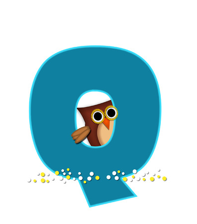 The letter Q, in the alphabet set Owl  is turquoise.  It is decorated with a brown owl and white and yellow polka dots.