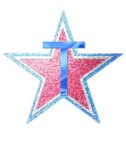 independance day: The letter T, in the alphabet set Red White and Blue is blue metallic.  Letter sits on three mosaic stars of red, white and blue. Stock Photo