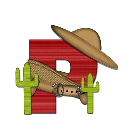 holster: The letter P, in the alphabet set Bandido, is a red lined, tight woven pattern.  Letter is wearing a gun belt and blanket with a somberro on top.  Two cacti sit at each side. Stock Photo